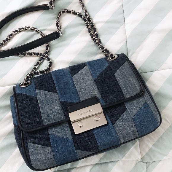 Michael Kors Handbags - Michael Kors Chain Strap Denim Crossbody Bag